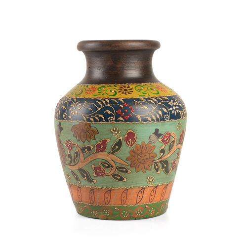 Limited Edition - Designer Inspired Hand Painted Floral Terracotta Vase Orange, Green and Multi Colour