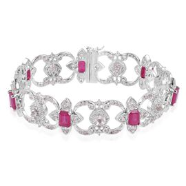 Designer Inspired African Ruby (Oct), White Topaz Bracelet (Size 7.5) in Rhodium Plated Sterling Silver 20.800 Ct. Silver wt 32.60 Gms. Number of Gemstone 196