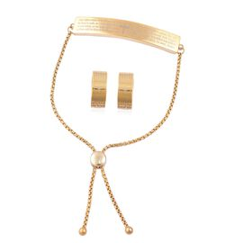 Lords Prayer Bar Adjustable Bracelet (Size 6.5-8) and Hoop Earrings in ION Plated Yellow Gold Tone with Stainless Steel
