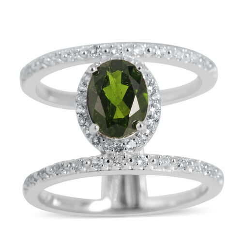 Russian Diopside (Ovl 1.50 Ct), White Topaz Ring in Rhodium Plated Sterling Silver 1.760 Ct. Silver wt 5.10 Gms.