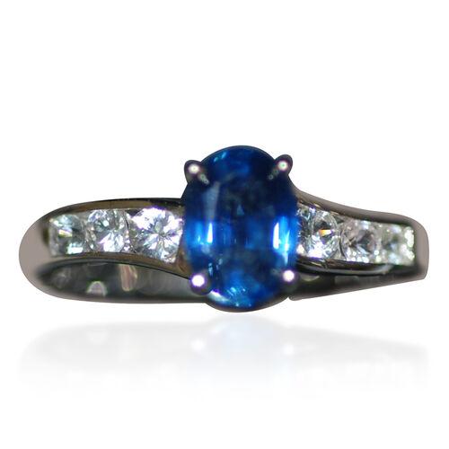 Close Out Deal 14K W Gold Kanchanaburi Blue Sapphire (Ovl 1.00 Ct), White Sapphire Ring 1.500 Ct.