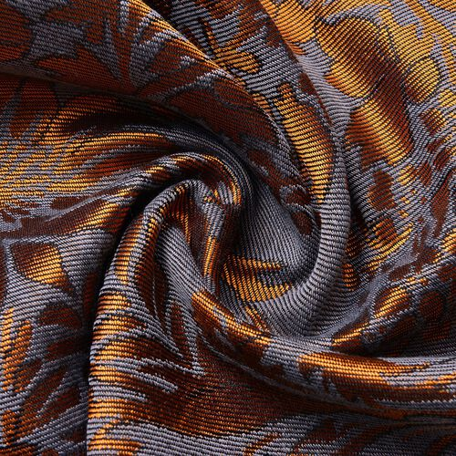 Silver Grey and Copper Colour Knitted Floral Pattern Scarf with Tassels (Size 170X70 Cm)