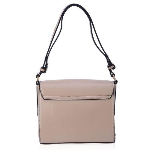 Grey Colour Crossbody Bag with Ammonite (Size 24x20x8 Cm)