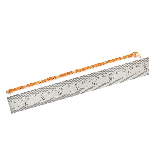 Orange Ethiopian Opal (Ovl), Diamond Bracelet in 14K Gold Overlay Sterling Silver (Size 7.5) 5.050 Ct.