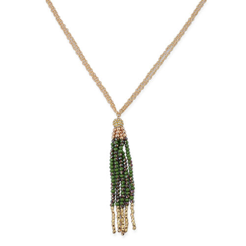 Multi Colour Glass and White Austrian Crystal Tassel Necklace (Size 32) in Gold Tone