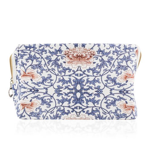 Set of 2 - Blue and Multi Colour Floral Pattern Cosmetic Bag (Size Large 26X17X9 Cm and Small 15X11X7 Cm)