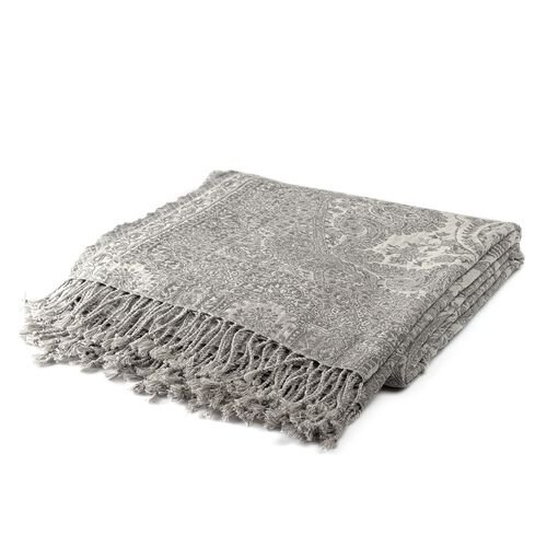 Wool Rich Jamawar - Jacquard Paisley Reversible Plaid Grey and White with Tassels (Size 180x140 cm)