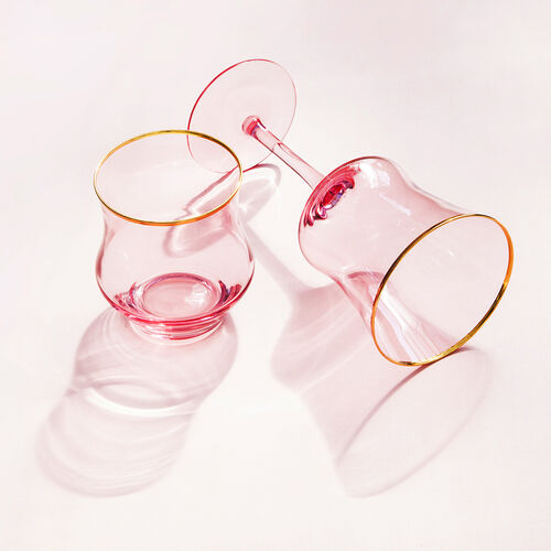 Set of 4 - Wine Glasses in Light Pink with Gold Rim