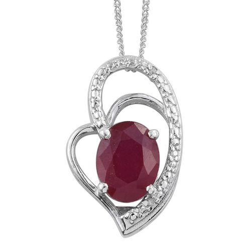 African Ruby (Ovl), Diamond Pendant With Chain in Platinum Overlay Sterling Silver 2.510 Ct.