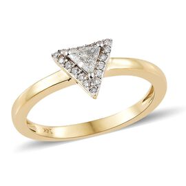 14K Yellow Gold Diamond (Trl and Rnd) (I1-I2) Ring 0.250 Ct.