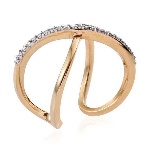 Diamond (Rnd) Criss Cross Ring in 14K Gold Overlay Sterling Silver