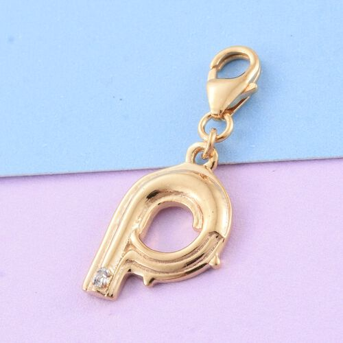 Diamond (Rnd) Initial P Charm in 14K Gold Overlay Sterling Silver