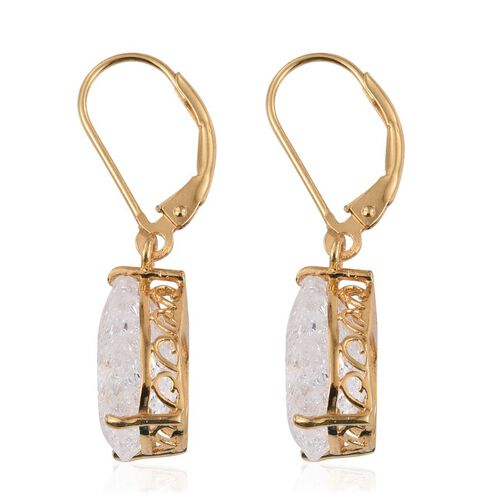 Diamond Crackled Quartz (Pear) Lever Back Earrings in 14K Gold Overlay Sterling Silver 9.750 Ct.