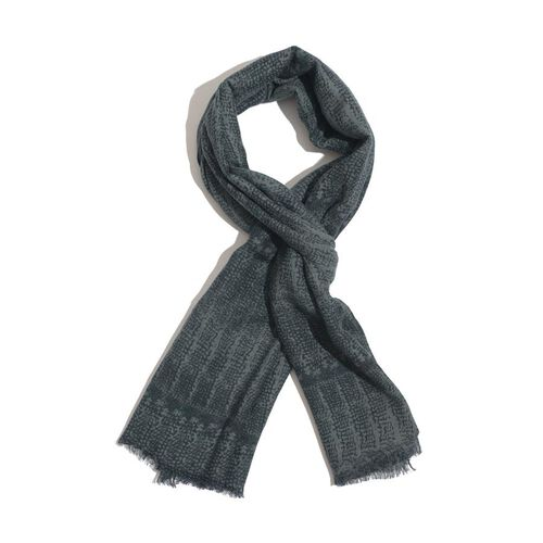 50% Wool and 50% Cotton Dark Green and Grey Colour Woven Scarf (Size 180x70 Cm)
