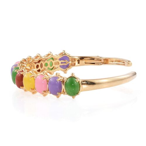 Yellow Jade (Ovl), Red Jade, Green Jade, Pink Jade and Purple Jade Cuff Bangle (Size 7.5) in ION Plated 18K Yellow Gold Bond 28.500 Ct.