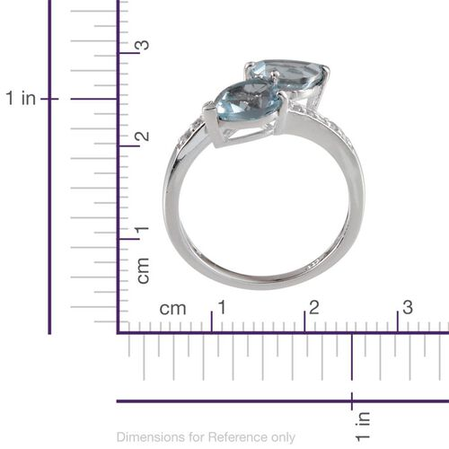 Sky Blue Topaz (Pear), White Topaz Crossover Ring in Platinum Overlay Sterling Silver 3.250 Ct.