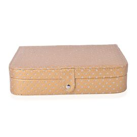 Glittering Heart Pattern Gold Colour Jewellery Box with Mirror inside (Size 26.5x18.5x6 Cm)