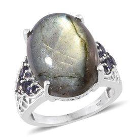 Labradorite (Ovl 14.25 Ct), Iolite Ring in Platinum Overlay Sterling Silver 14.850 Ct.