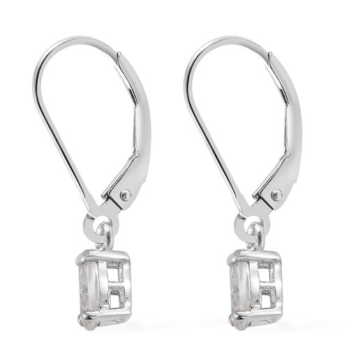 1.25 Ct Natural Cambodian Zircon Lever Back Earrings in Platinum Plated Silver