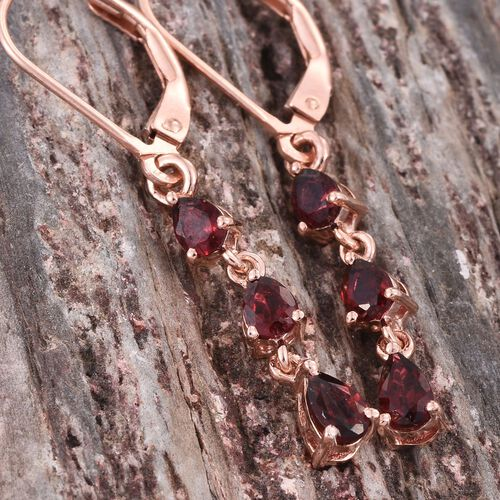 Mahenge Spinel (Pear) Lever Back Earrings in Rose Gold Overlay Sterling Silver 1.000 Ct.