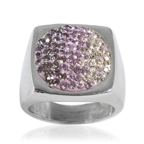 Square Lavender Austrian Crystal Ring in Silvertone (Size N)