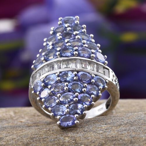 Tanzanite (Ovl), White Topaz Ring in Platinum Overlay Sterling Silver 6.500 Ct.