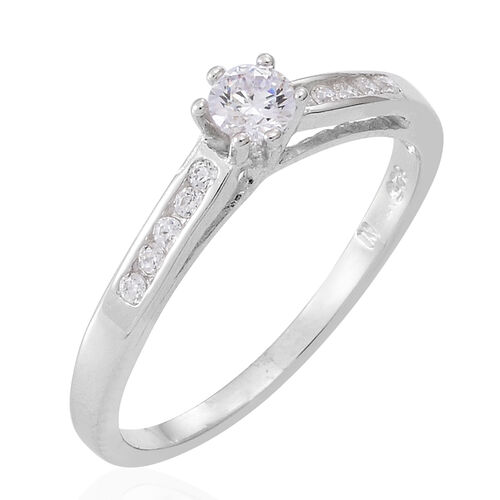 Set of 2 - ELANZA AAA Simulated Diamond (Rnd) Ring in Rhodium Plated Sterling Silver