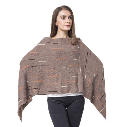 Designer Inspired - Chocolate, Orange and Multi Colour Poncho with Tassels (Size 96X90 Cm)
