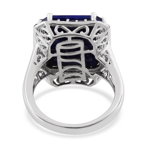 Lapis Lazuli (Oct 14.75 Ct), Iolite Ring in Platinum Overlay Sterling Silver 15.750 Ct.