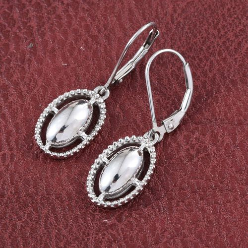 Platinum Overlay Sterling Silver Lever Back Earrings, Silver wt. 3.70 Gms.