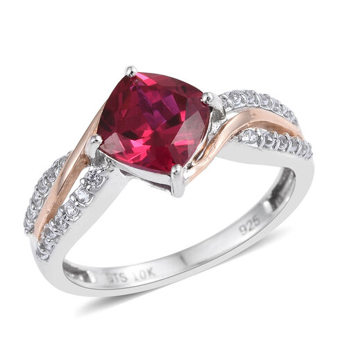 One Time Close Out Deal- Simulated Ruby and Simulated White Sapphire Ring in 9K Rose Gold and Rhodium Overlay Steling Silver.