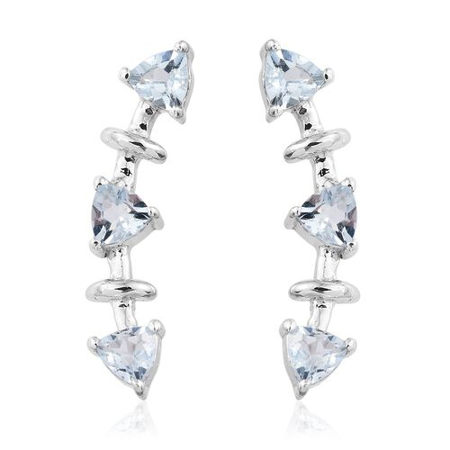 Espirito Santo Aquamarine 1 Carat Silver Climber Earrings in Platinum Overlay