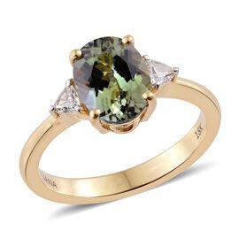 ILIANA 18K Yellow Gold 2.40 Ct Rare AAA Green Tanzanite Ring with Diamond (SI/G-H)