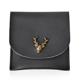 Reindeer Head Embellished Black Colour Gifting Wallet (Size 10X10 Cm)