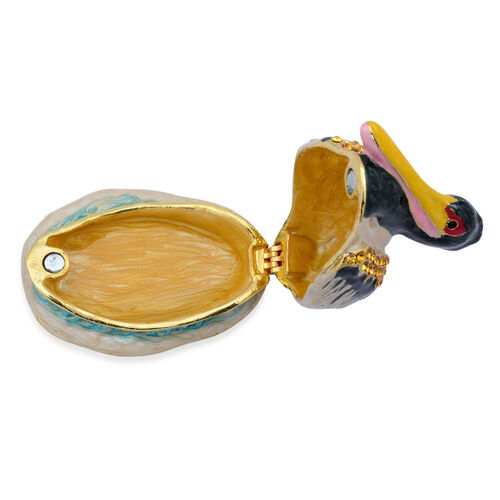 (Option 3) Duck Shape Enameled Trinket Box in Gold Tone with Black and Champagne Colour Austrian Crystal
