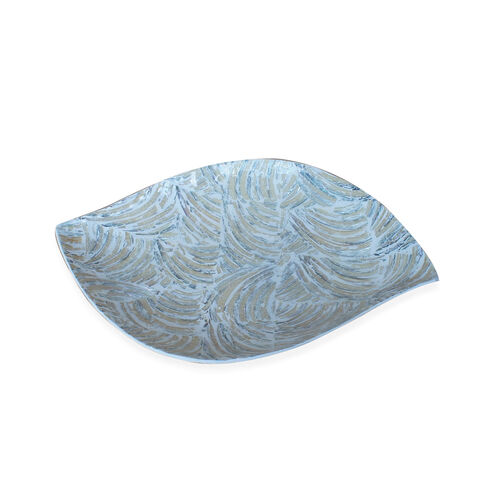 Handmade Leaf Shaped Shell Inlay Bowl with Black Resin (Size 28x19 Cm)
