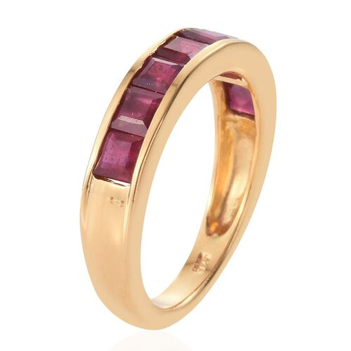 African Ruby 2 Carat Silver Half Eternity Band Ring in Gold Overlay