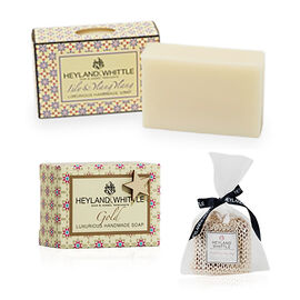 HEYLAND AND WHITTLE - Lily Ylang Ylang, Gold Soap 2 95g  and 150g Sisal exfoliating bag