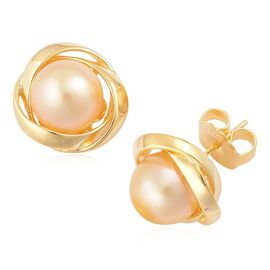 Rare  South Sea Golden Pearl (Rnd 11 to 11.5 mm) Stud Earrings (with Push Back) in Yellow Gold Overlay Sterling Silver