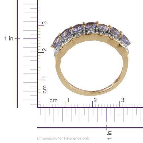 Tanzanite (Rnd), White Topaz Ring in 14K Gold Overlay Sterling Silver 1.500 Ct.