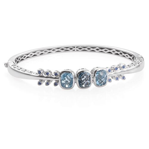 Sky Blue Topaz (Cush), Swarovski Sapphire Crystal Bangle (Size 7.5)  in ION Plated Platinum Bond 7.615 Ct.