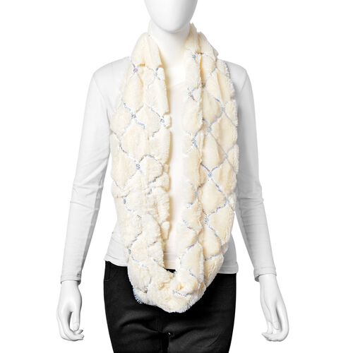 Designer Inspired - White Colour with Sequins Faux Fur Infinity Scarf (Size 80x20 Cm)