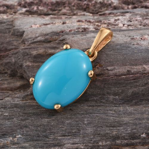 AAA Arizona Sleeping Beauty Turquoise (Ovl) Solitaire Pendant in 14K Gold Overlay Sterling Silver 3.500 Ct.