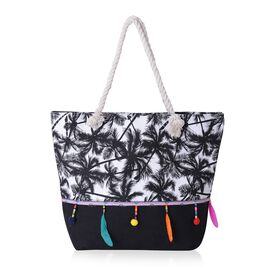Coconut Tree Pattern Tote Bag with Multi Colour Tassels (Size 48x33x33x15.5 Cm)