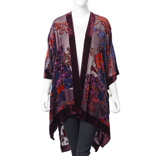 Designer Inspired-Wine Red, Orange and Multi Colour Peony Flower Pattern Kimono (Free Size)
