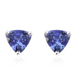14K White Gold 1.75 Ct AA Tanzanite Stud Earrings (with Push Back)