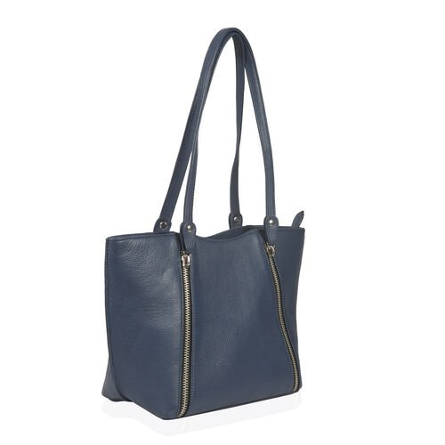 Premium Collection 100% Genuine Leather Royal Blue Colour RFID Protected Shoulder Bag (Size 40x23x13 Cm)