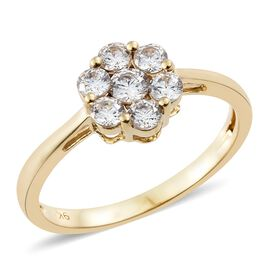 J Francis - 9K Yellow Gold (Rnd) 7 Stone Floral Ring Made with SWAROVSKI ZIRCONIA