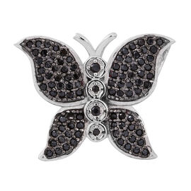 Designer Inspired Boi Ploi Black Spinel (Rnd) Butterfly Pendant in Rhodium Plated Sterling Silver 1.000 Ct.No of Stones 94 Pcs Silver wt 3.51 Gms.