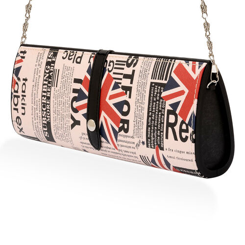 Black Colour Printed Hand Bag with Removable Chain Strap (Size 30x12x5 Cm)